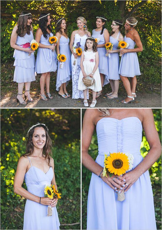 purple bridesmaid dresses  | single stem sunflower bouquet | #weddingchicks
