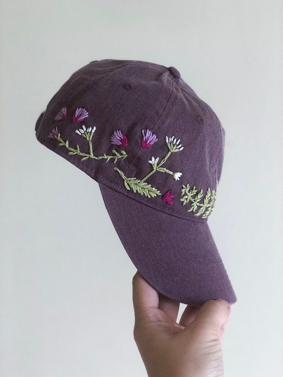 Hand Embroidered Hat - fall hat- custom embroidered hat