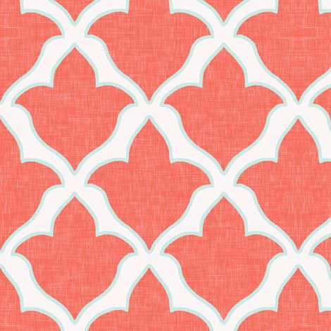 Fleur, in Coral and Mint Linen fabric by sparrowsong on Spoonflower - custom fabric