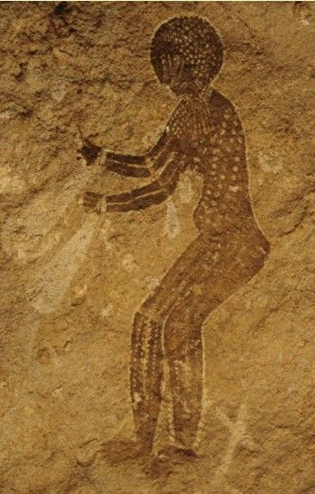 Cave paintings from Tassily-n-Ajjer in Algeria, made 8000 BC - 4000 BC