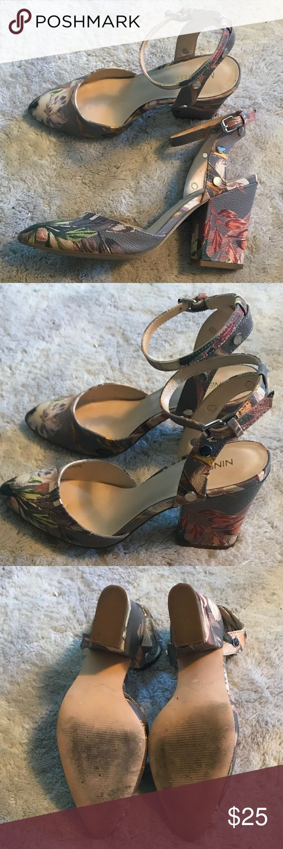 Nine West Grey Spring 3 Inch Heels Size 7 Gently worn, Nine West Grey Spring 3 Inch Heels with Ankle Strap. Size 7. Nine West Shoes Heels
