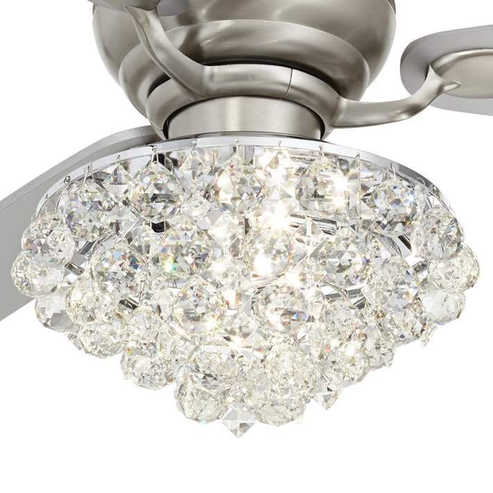 60 Spyder Brushed Nickel Crystal Hugger Led Ceiling Fan 69g37 Lamps Plus Led Ceiling Fan Ceiling Fan Design Hugger Ceiling Fan