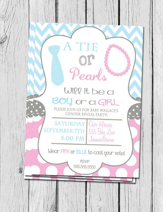 gender reveal invitation ties and pearls gender reveal invite chevron and polka dots gender reveal invitation - Gender Reveal Party Invites