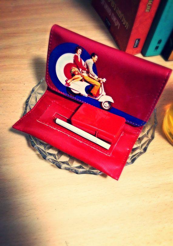 Tobacco Case Tobacco Pouch Red Vintage Vespa Design by BUYOLO