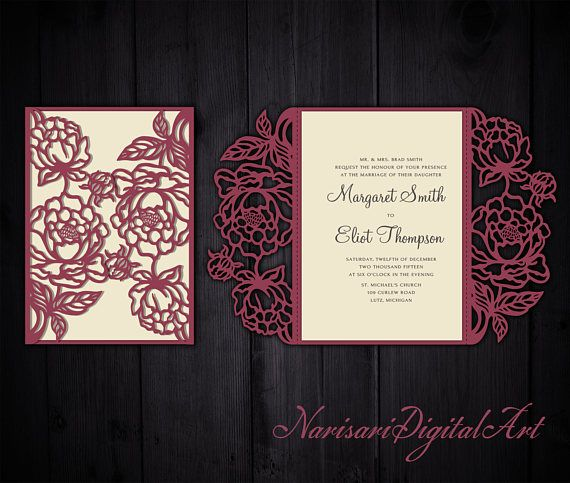 Peonies cut Wedding invitation 5x7 Gate fold Card Template