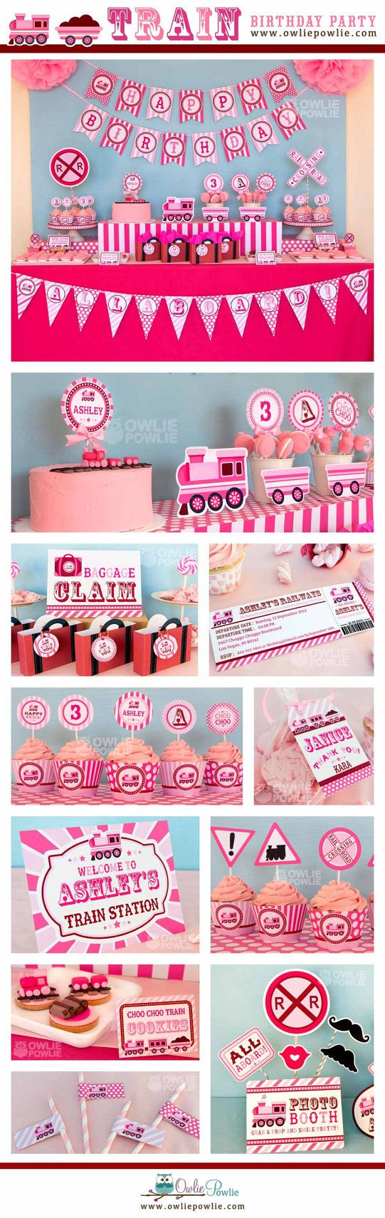 Sale-Pink Train BIRTHDAY Party Printable Package & by OwliePowlie
