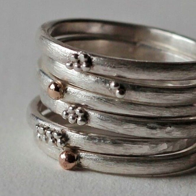 These stacking rings go with anything! Perfect on their own or mix and match. Made in plain sterling silver or silver and 9ct gold. Can be bought...