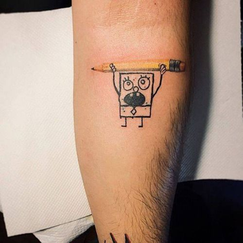 SpongeBob Tattoo on the left inner forearm. Tattoo artist: Nando