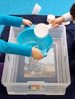 Water play good for noahs ark lesson. Have picture of ark taped to the bottom of the containers.