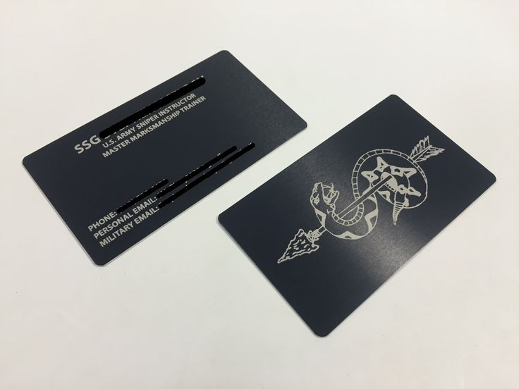 20 best metal business cards images on pinterest creative business metal business card with double sided laser engraving for a us army sniper instructor reheart Images