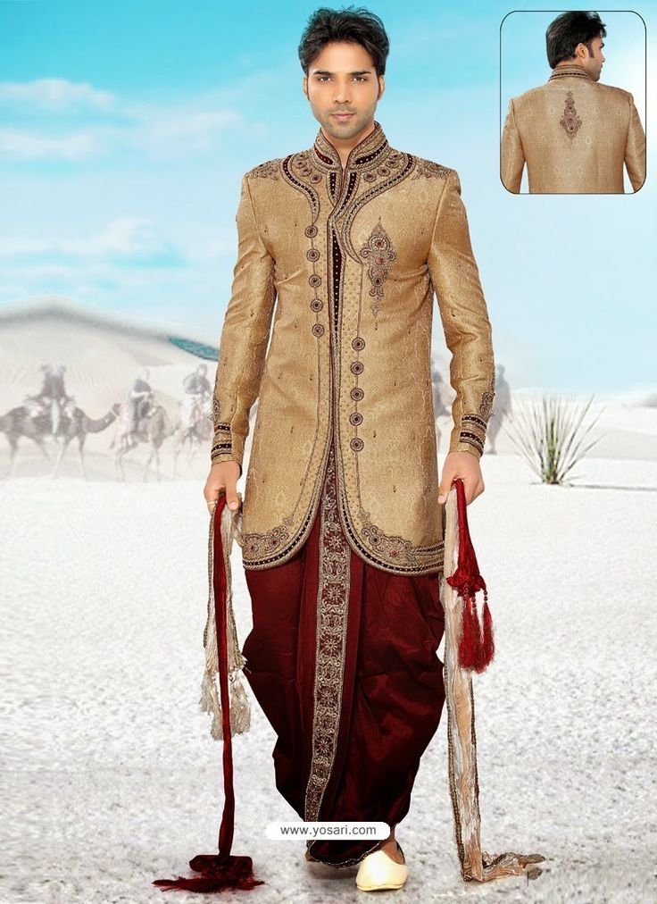 Baronial Brown Pure Silk Sherwani Model: YOSHV459