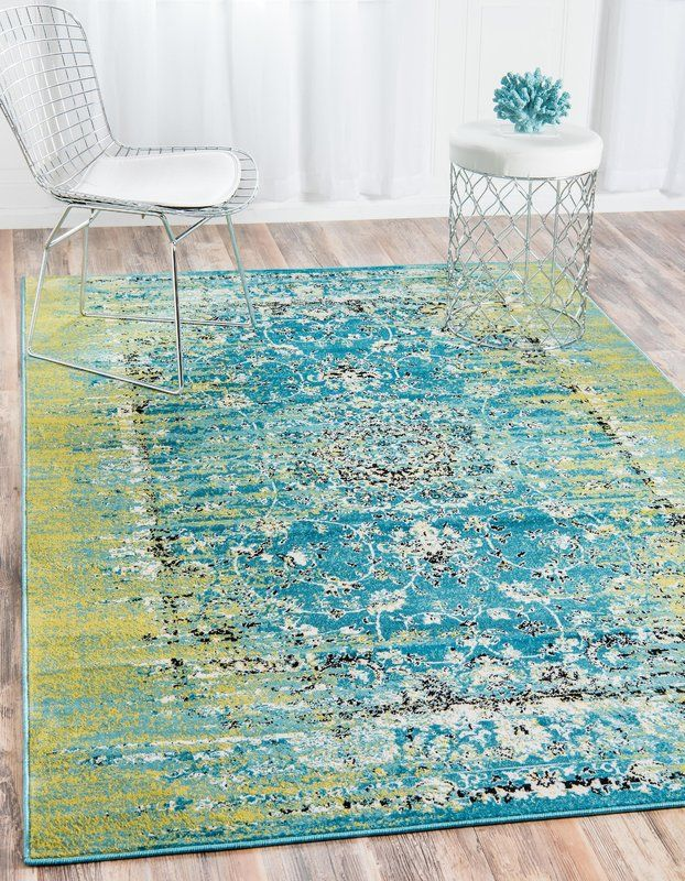 Neuilly Oriental Blue Green Area Rug With Images Area Rugs