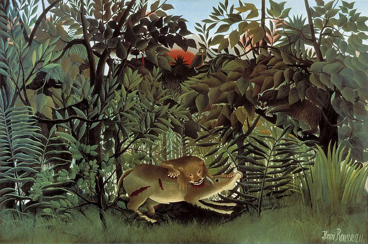 Fauvism - Henri Rousseau, The Hungry Lion Throws Itself on the Antelope, 1905