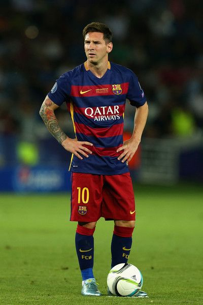 Lionel Messi of Barcelona looks on during the UEFA Super Cup between Barcelona and Sevilla FC at Dinamo Arena on August 11, 2015 in Tbilisi, Georgia.