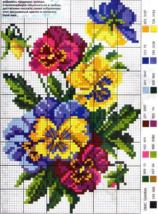 Cross-stitch Violets patern