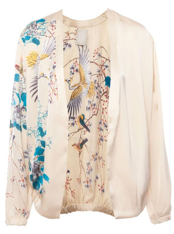 Apricot Long Sleeve Birds Floral Print Jacket - Sheinside.com