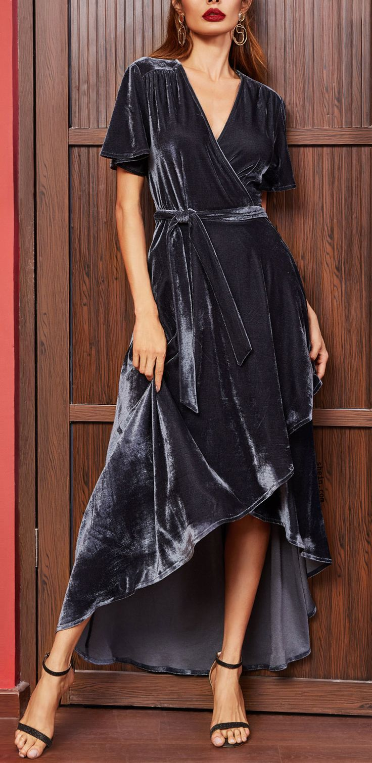 Navy Surplice Wrap High Low Velvet Dress Shein Design Pinterest