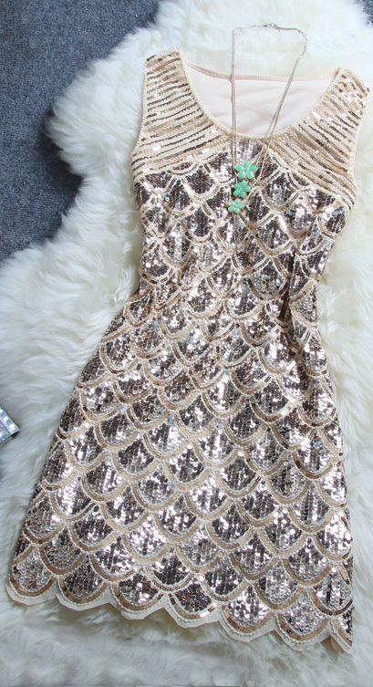 sequin dress for a party! can be bought for $40 #newyears #scallop #dress