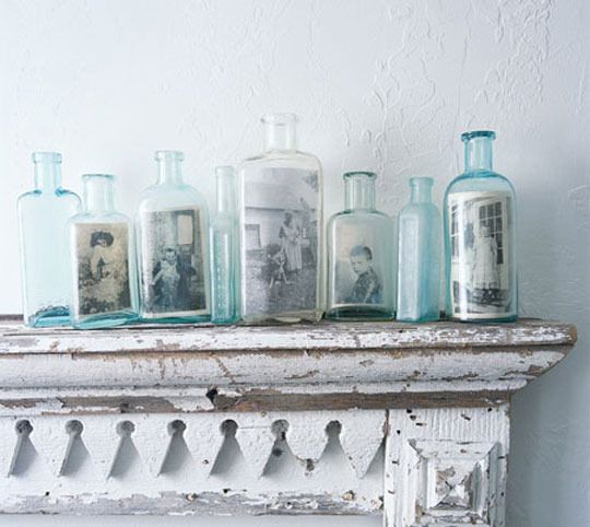 display pictures in antique glassware: Display Photos, Vintage Photos, Vintage Bottle, Photos Display, Families Photos, Glasses Bottle, Old Bottle, Old Photos, Pictures Frames