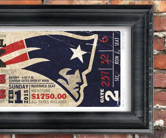 New England Patriots Vintage Ticket Poster  Superbowl by PasspArt