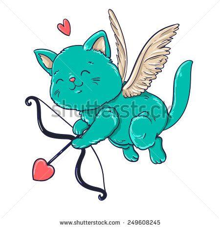 Cupidon, angel. cat, wings, vector, illustration, cupid, heart, pet. flight.