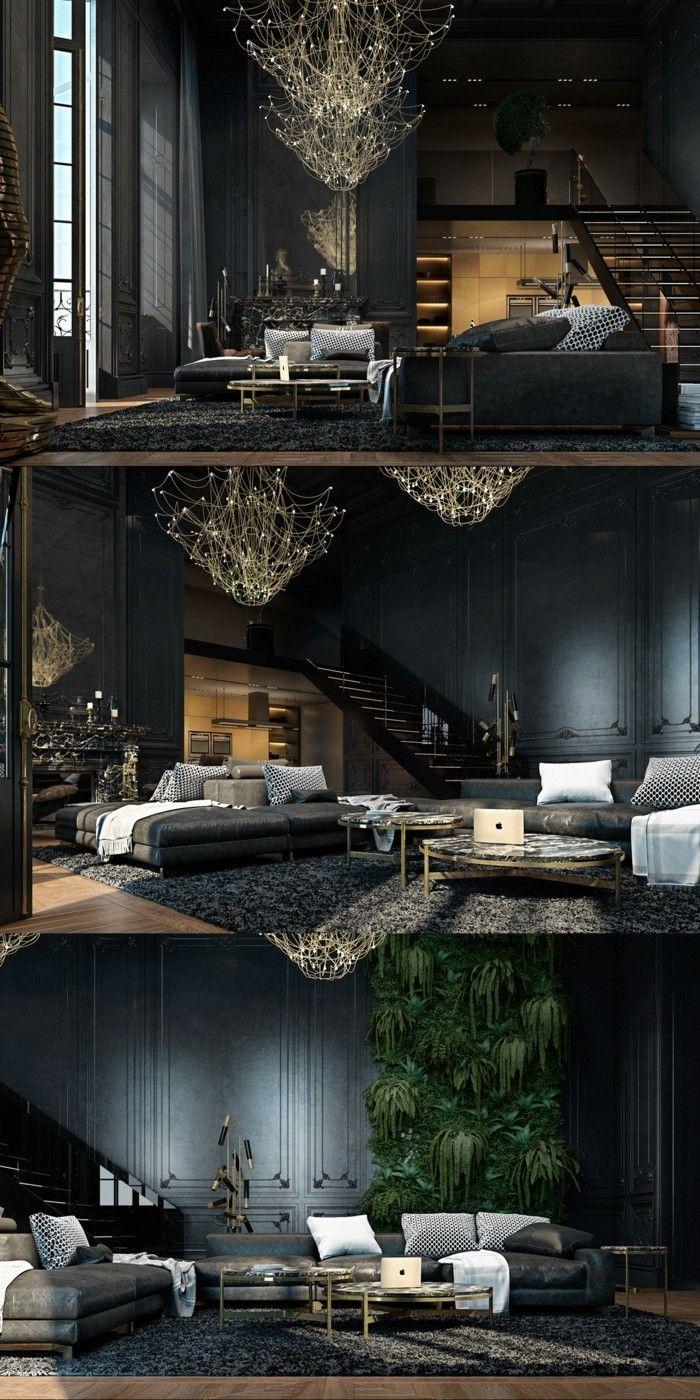 Living room design in modern and timeless black