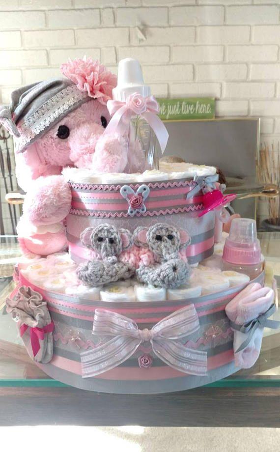 Elephant Diaper Cake, elephant shower cake in Pink, baby elephant cake,- Two Teir