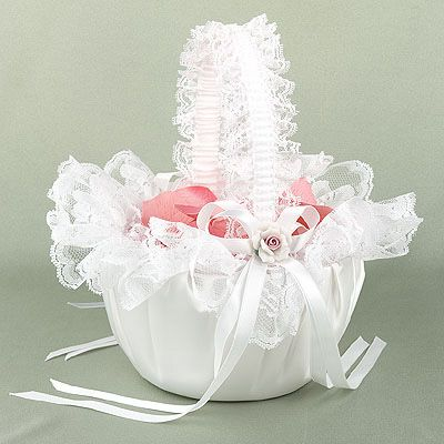 flower basket for wedding beatiful satin white 3d roses lace flower baskets for 4132