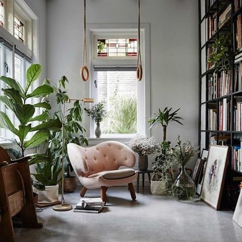 A 1930's Dutch artist's home with dreamy pink armchair . via Gravity Home . #interior #interiorinspiration #interiorstyling #interiorinspo #homedecor #homestyling #vintage #interiordesign #design #interior123 #interiors #interiorideas #interiores #decoration #decorating #style #interiorideas #midcenturymodern #bathroom #gplan #sideboard #recycle #midcentury #midcenturyfurniture #periodhome #danishdesign #danishmodern #scandinavian #dutch #period