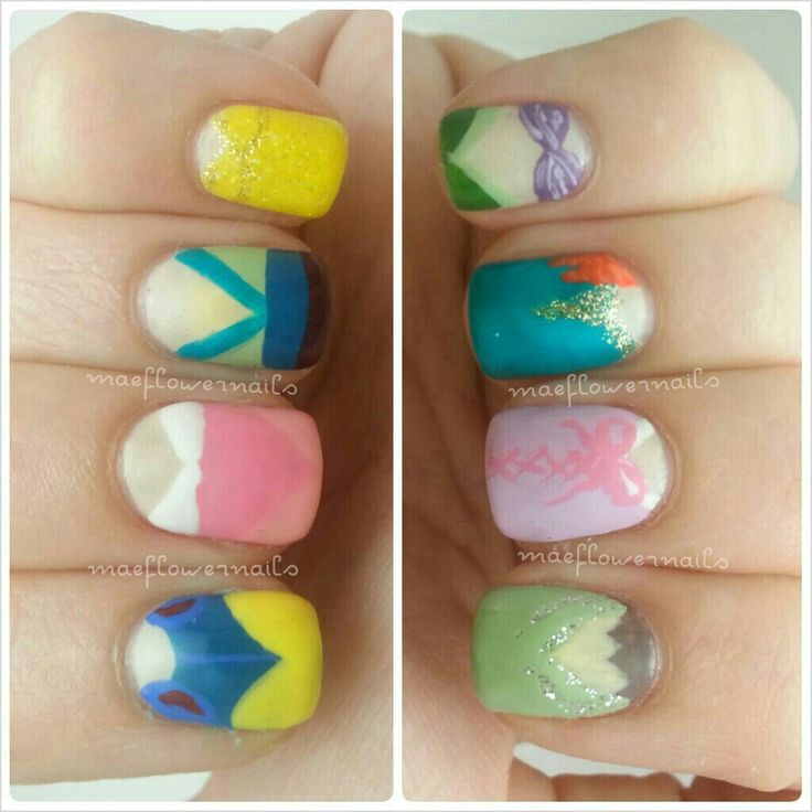 IG maeflowernails- Disney princess mani. Clockwise from top right: Ariel, Merida, Rapunzel, Tiana, Snow White, Sleeping Beauty, Mulan, and Belle.