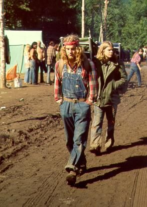 Levi's overalls in full 1970s hippie style