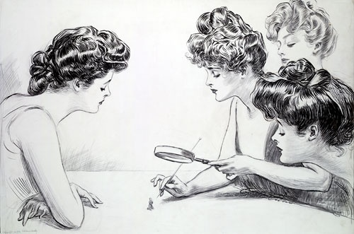 """This illustration by Charles Dana Gibson was simply titled, """"The Weaker Sex."""" The pen and ink illustration was first published in Collier's weeklyon July 4, 1903. Gibson is most famous for his creationg of the iconic Gibson Girls and his work appeared in a number of New York City publications at the turn of the century."""