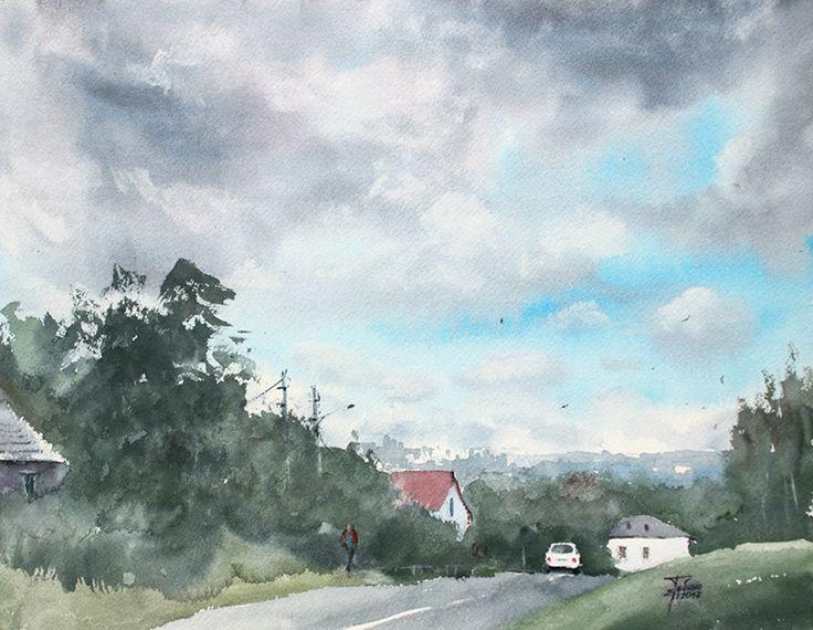 «За городом» живопись акварелью Екатерины Губиной