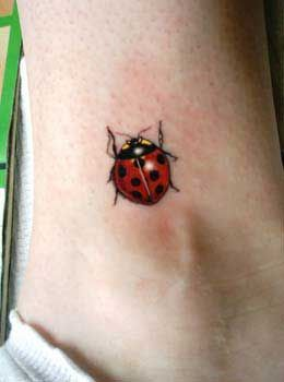 Red Ladybug Beetle Tattoo On Ankle