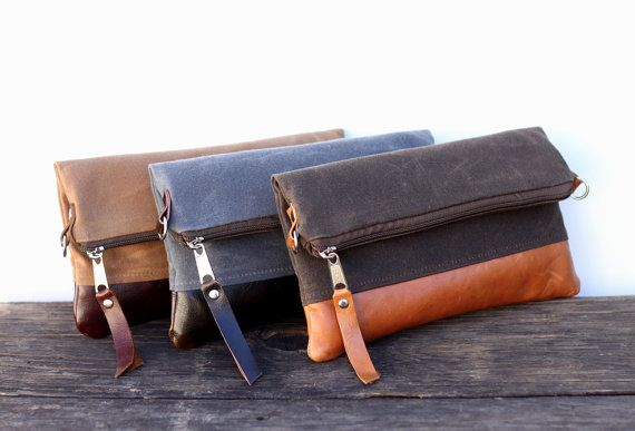 Waxed Canvas Leather Small Convertible Messenger Bag/Foldover Clutch - Choose your Waxed Canvas, Fabric and Leather on Etsy, $55.00