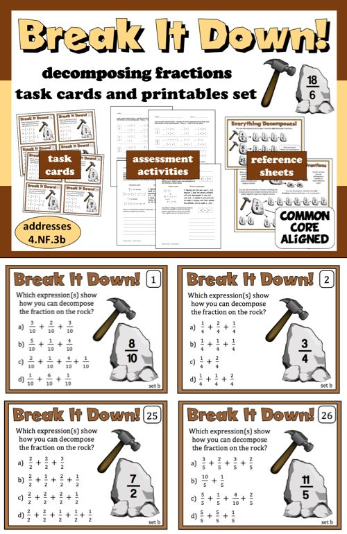 "Looking for resources to help your students practice decomposing fractions? This set of task cards and printables provides everything you need in one ""print-and-go"" package. The 32 task cards, 2 graphic reference sheets, and 4 assessment activities are the perfect resource for building and evaluating your students' understanding of fractional relationships. $"