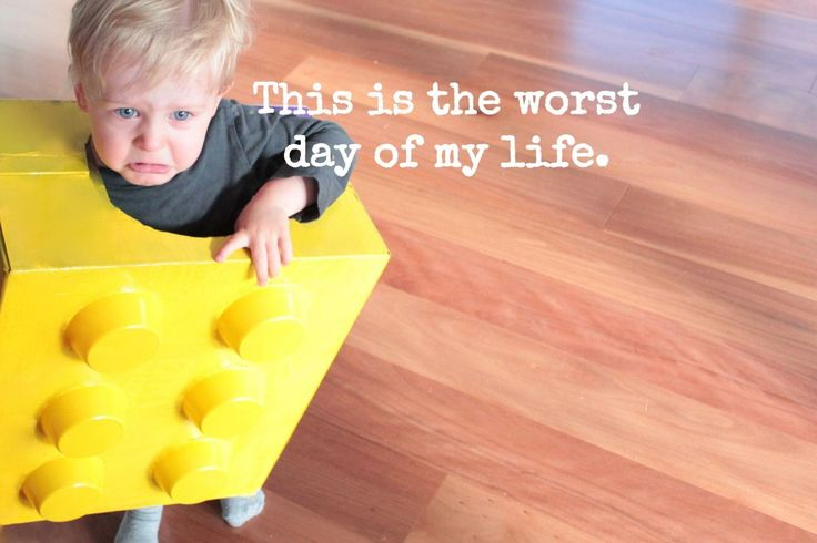 Sad lego baby - learn how to make this super quick and super cheap Halloween costume. Child satisfaction not guaranteed.