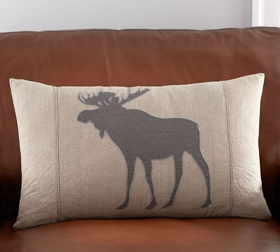 Moose Applique Lumbar Pillow Cover Wish List Applique