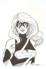 "Ms. Marvel Bust Commission  Size: 11"" x 17"", 2008 Signed art by George Perez"