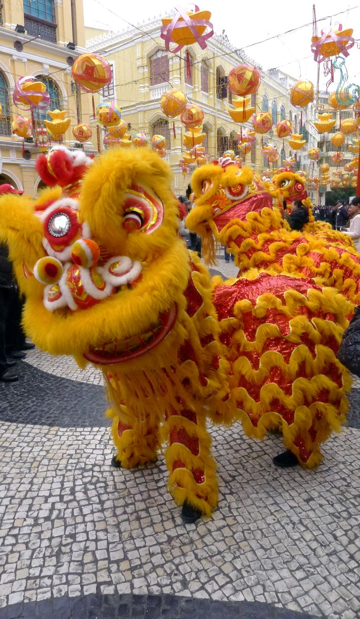 Traditional lion dances during the Chinese New Year parades in Macau (2013)…