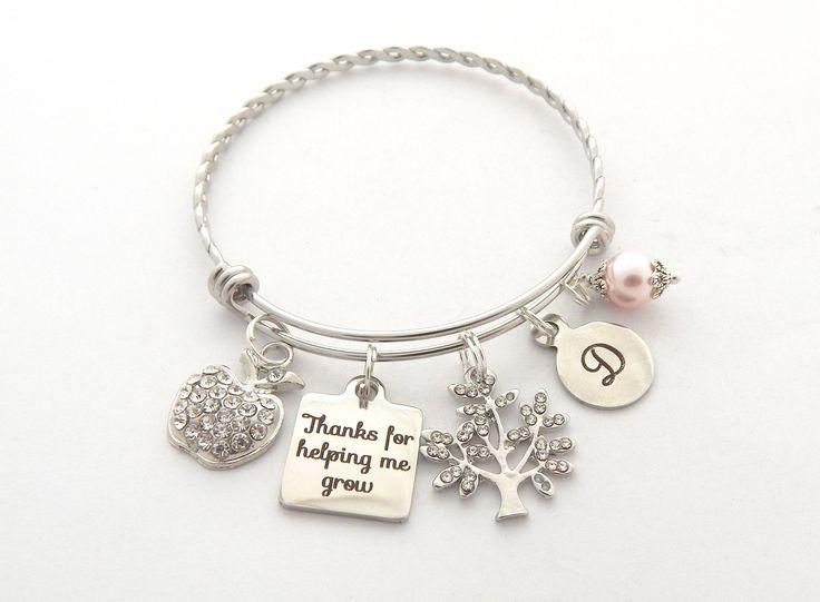 TEACHER Inspirational Jewelry-Teacher Gift Ideas-Teacher appreciation Gifts Teacher Bracelet Thank you for helping me Grow gift-Teacher Gift