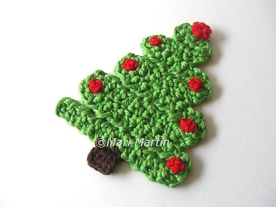 Christmas Tree Crochet Coasters . Beverage Drink di MariMartin