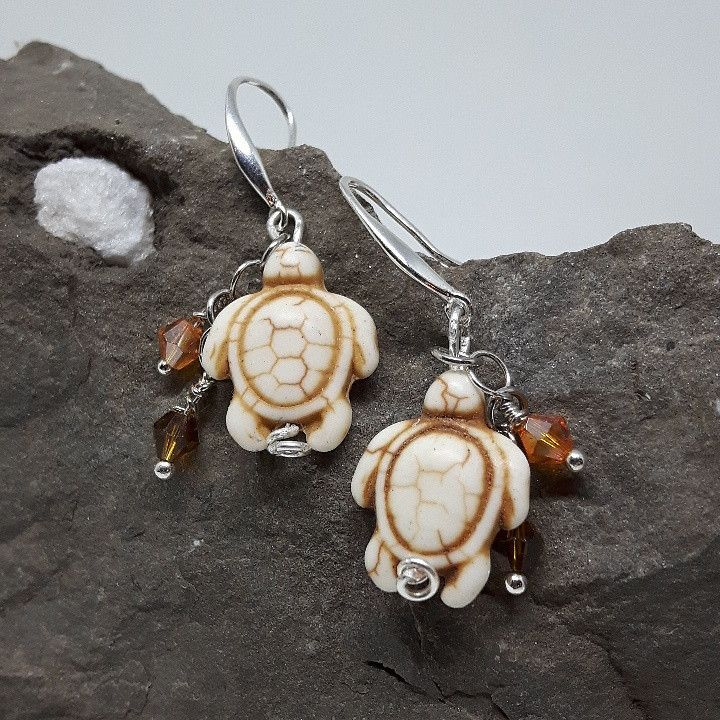 Stone Sea Turtle earrings with crystals