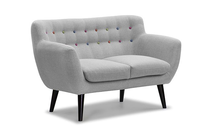 The Retro Grey 2 Seater Sofa is a sleek funky model that evokes a 1950s feel with a contemporary look.   It's muted shade of grey is ideal for contrasting with any internal décor.  Offering both comfort and style it will offer a unique talking point whilst entertaining your friends.   Finished with button back detail in contrasting colours. 10 year Frame Guarantee on this sofa