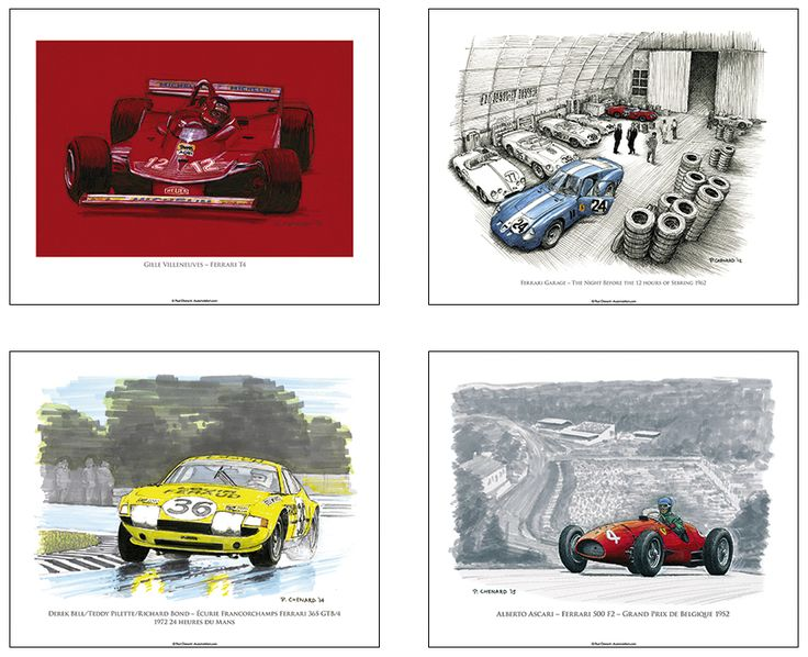 """When you purchase my """"Ferrari in Art"""" book, you have a choice of 1 of these 4 (10""""x 8"""") Ferrari posters."""