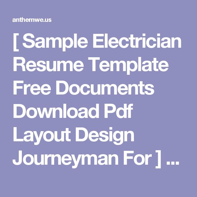 [ Sample Electrician Resume Template Free Documents Download Pdf Layout Design Journeyman For ] - Best Free Home Design Idea & Inspiration