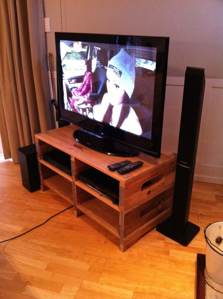 Side View of TV Stand Up Cycled from Wooden Pallets