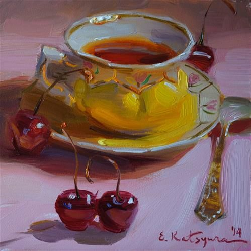 Tea and Cherries - Original Fine Art for Sale - � by Elena Katsyura