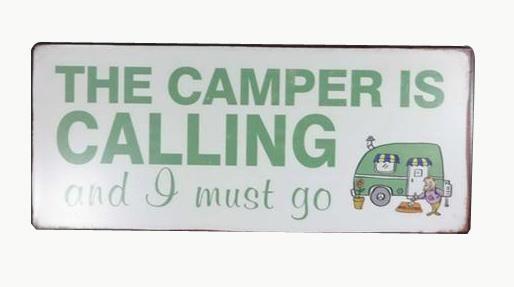 metall schild the camper is calling schilder wand wohnen tante metallschilder. Black Bedroom Furniture Sets. Home Design Ideas