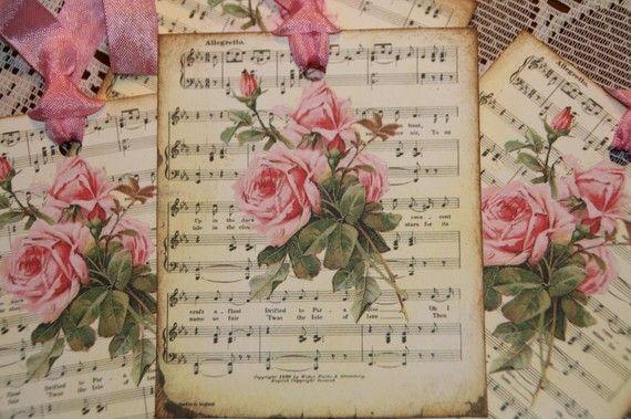Sheet Music Pink Rose Gift tags  http://www.etsy.com/listing/67581204/romantic-music-sheet-pink-roses-gift?ref=af_circ_favitem